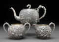 Silver & Vertu, A Three-Piece Wang Hing Partial Gilt Repoussé Silver Tea Service, Hong Kong, late 19th-early 20th century. Marks to teapot: ... (Total: 3 Items)