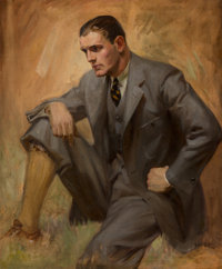 Thomas Webb (American, 20th Century) Man Sitting on the Grass Oil on canvas 34 x 28 in. Signed