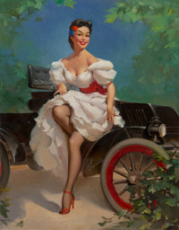Attributed to Gil Elvgren (American, 1914-1980) Miss Sylvania Oil on canvas 44.5 x 36 in. Not