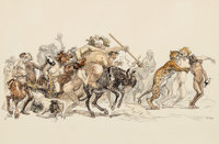 Heinrich Kley (German, 1863-1945) Bacchanalian Procession Watercolor and ink on paper 9.75 x 13 i