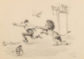 Mainstream Illustration, Arthur Burdett Frost (American, 1851-1928). Lion Attack. Ink wash on paper. 12.5 x 17.25 in. (sight). Stamped signature ...