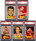 Basketball Cards:Lots, 1957 Topps Basketball PSA NM-MT 8 Graded Collection (5)....