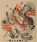Mainstream Illustration, Florence Pearl England Nosworthy (American, 1872-1936). Halloween Spirits, Hearth and Home magazine cover, October 1930...