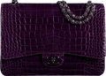 "Luxury Accessories:Bags, Chanel Shiny Purple Crocodile Maxi Double Flap Bag with Silver Hardware. Condition: 2. 13"" Width x 9"" Height x 4"" Dept..."