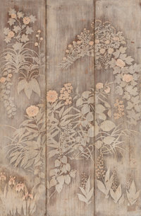 Max Kuehne (American, 1880-1968) Trifold Silverleaf Screen (double-sided work) Mixed media on panel<