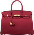 """Luxury Accessories:Bags, Hermès 35cm Rouge Grenat Togo Leather Birkin Bag with GoldHardware. X, 2016. Condition: 2. 14"""" Width x 10""""Height..."""