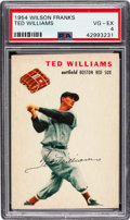 Baseball Cards:Singles (1950-1959), 1954 Wilson Franks Ted Williams PSA VG-EX 4....