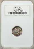 Mercury Dimes, 1943-D 10C MS66 Full Bands ANACS. This lot will also include a: 1945 10C MS66 NGC.... (Total: 2 coins)
