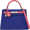 Luxury Accessories:Bags, Hermès Special Order Horseshoe 28cm Blue Electric & Rose Azalee Epsom Leather Sellier Kelly Bag with Palladium Hardware. A...