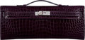 "Luxury Accessories:Bags, Hermès Shiny Aubergine Porosus Crocodile Kelly Cut Clutch withPalladium Hardware. A, 2017. Condition: 1. 12""Widt..."