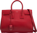 """Luxury Accessories:Bags, Saint Laurent Red Calfskin Leather Small Sac de Jour Bag. Condition: 2. 12"""" Width x 10"""" Height x 6.5"""" Depth. ..."""