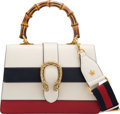 """Luxury Accessories:Bags, Gucci Red, White & Blue Leather Medium Dionysus Top Handle Bag. Condition: 2. 10"""" Width x 8"""" Height x 3.5"""" Depth. ..."""