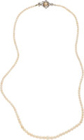 Estate Jewelry:Necklaces, Edwardian Natural Pearl, Diamond, Cultured Pearl, Platinum-Topped Gold Necklace. ...