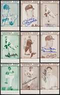 Autographs:Sports Cards, 1976 Galasso Baseball's Great Hall of Fame Signed Lot of 9 with Paige and Mantle....