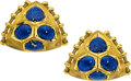 Estate Jewelry:Earrings, Lapis Lazuli, Gold Earrings, Elizabeth Gage, English. ...