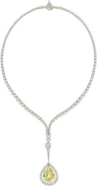 Fancy Yellow Diamond, Diamond, Platinum Pendant-Necklace
