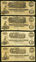 Confederate Notes:1862 Issues, T39 $100 1862, Two Examples Very Good or Better;. T40 $100 1862,Two Examples Very Good or Better.. .....