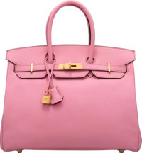 Hermès Special Order Horseshoe 35cm 5P Bubblegum & Rose Tyrien Birkin Bag with Gold Hardware P Square, 20...