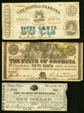 Obsoletes By State:Mixed States, A Trio of State and County Notes from Alabama, Georgia, and Virginia 1863 Fine or Better.. ... (Total: 3 notes)