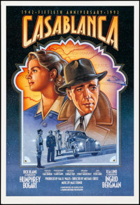 "Casablanca (Warner Brothers, R-1992). Rolled, Very Fine/Near Mint. 50th Anniversary Poster (27"" X 39.75"") SS..."