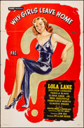 "Movie Posters:Exploitation, Why Girls Leave Home (PRC, 1945). Folded, Fine-. One Sheet (27"" X 41""). Exploitation.. ..."