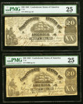 Confederate Notes:1861 Issues, T18 $20 1861 PF-16, PF-23 Two Examples. PMG Very Fine 25.. ...(Total: 2 notes)