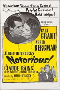 "Notorious (Selznick, R-1960s). Folded, Very Fine+. One Sheet (27"" X 41""). Hitchcock"
