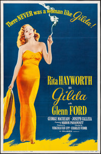 "Gilda (Columbia, R-1959). Folded, Fine+. Trimmed One Sheet (25.75"" X 39.75""). Film Noir"