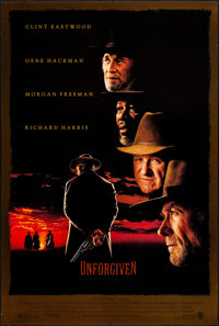 "Unforgiven (Warner Brothers, 1992). Rolled, Very Fine. One Sheet (27"" X 40"") DS. Western"