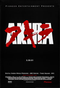 "Akira (Pioneer Pictures, R-2001). Rolled, Very Fine+. New York Premiere One Sheet (27"" X 40"") DS Advance. Anim..."