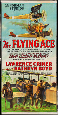 "The Flying Ace (Norman, 1926). Folded, Fine-. Trimmed Three Sheet (38.5"" X 78""). Black Films"