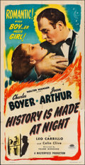 """Movie Posters:Romance, History is Made at Night (Masterpiece Productions, R-1948). Folded, Fine+. Three Sheet (41"""" X 80""""). Romance.. ..."""