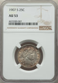 Barber Quarters: , 1907-S 25C AU53 NGC. NGC Census: (1/58). PCGS Population: (11/83).CDN: $250 Whsle. Bid for problem-free NGC/PCGS AU5...