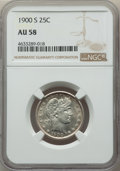 Barber Quarters: , 1900-S 25C AU58 NGC. NGC Census: (29/40). PCGS Population: (55/76).CDN: $400 Whsle. Bid for problem-free NGC/PCGS AU...