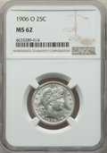 Barber Quarters: , 1906-O 25C MS62 NGC. NGC Census: (13/91). PCGS Population:(21/145). CDN: $289 Whsle. Bid for problem-free NGC/PCGS M...