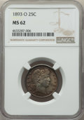 Barber Quarters: , 1893-O 25C MS62 NGC. NGC Census: (29/79). PCGS Population:(39/137). CDN: $325 Whsle. Bid for problem-free NGC/PCGS MS62. M...