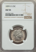 Barber Quarters: , 1899-O 25C AU55 NGC. NGC Census: (5/75). PCGS Population: (25/125).CDN: $268 Whsle. Bid for problem-free NGC/PCGS AU...