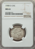 Barber Quarters: , 1908-O 25C MS61 NGC. NGC Census: (13/165). PCGS Population:(10/222). MS61. Mintage 6,244,000. ...