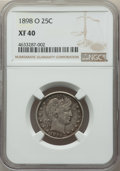 Barber Quarters: , 1898-O 25C XF40 NGC. NGC Census: (4/60). PCGS Population: (14/135).CDN: $230 Whsle. Bid for problem-free NGC/PCGS XF40. Mi...