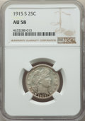 Barber Quarters: , 1915-S 25C AU58 NGC. NGC Census: (31/125). PCGS Population:(73/169). CDN: $205 Whsle. Bid for problem-free NGC/PCGS ...