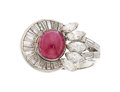 Estate Jewelry:Rings, Diamond, Ruby, White Gold Ring The ring center...