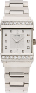 Estate Jewelry:Watches, Concord Lady's Diamond, White Gold Crystale Watch. ...