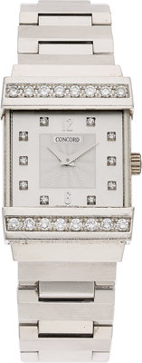 Concord Lady's Diamond, White Gold Crystale Watch