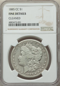 1885-CC $1 -- Cleaned -- NGC Details. Fine. NGC Census: (15/10805). PCGS Population: (21/22574). CDN: $500 Whsle. Bid fo...