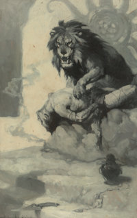 James Allen St. John (American, 1872-1957) Tarzan and the Golden Lion, book frontispiece, 1922 Oil o
