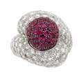 Estate Jewelry:Rings, Diamond, Ruby, Platinum, Gold Ring The ring fe...