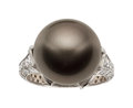 Estate Jewelry:Rings, South Sea Cultured Pearl, Diamond, White Gold Ring, Ambros...