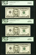 Fr. 1987-B* $5 1999 Federal Reserve Star Notes. Six Consecutive Examples. PCGS Graded
