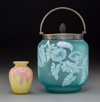Thomas Webb & Sons Overlaid and Etched Glass and Silver Mounted Biscuit Jar and Vase Circa 1900. Ht. 7 inches (tal...