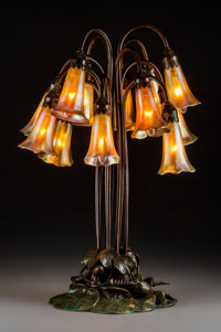 Tiffany Studios Favrile Glass and Bronze Twelve-Light Lily Lamp Circa 1910. Eight